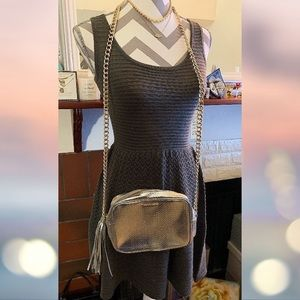 NWT! BB Dakota Dress Steel Grey Knit Midi Flare